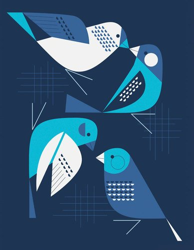 GreenBox Art + Culture Bye Blue Finches Stretched Canvas Art by Eleanor Grosch, 14 by 18-Inch