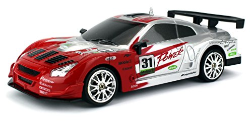 Drift King GT3 R-Spec Remote Control RC Drifting Racing Race Car 1:24 Scale Size Ready To Run w/ Bright LED Lights, Extra Set of Grip Tires (Colors May Vary) (Drifting Rc Car compare prices)