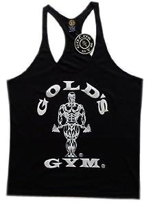 BLACK Original Classic Gold's Gym Bodybuilding Stringer Vest S/M/L sizes (Small)