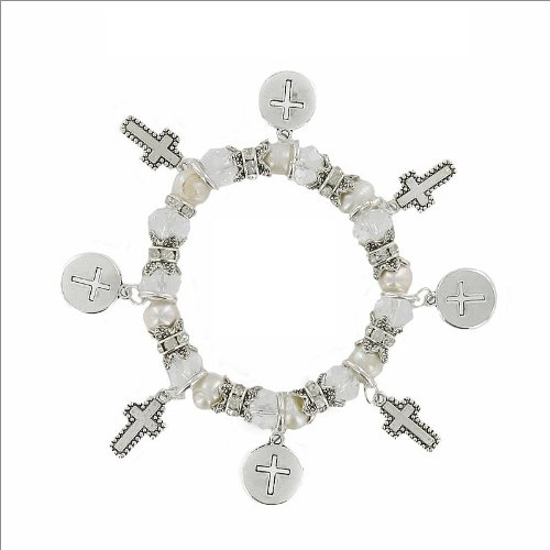 JOA Cross Charm Multi Bead & Pearl Bracelet #035377