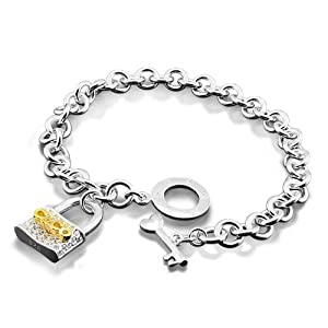 Platinum Plated 925 Sterling Silver Key Locked Pendant Chain Bracelet 8