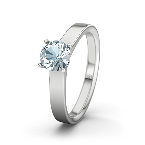 21DIAMONDS Dijon Aquamarine Brilliant Cut Women's Ring 14 Carat (585) White Gold Engagement Ring