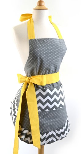 Flirty Aprons Women's Original Apron, Chevron Yellow Bow