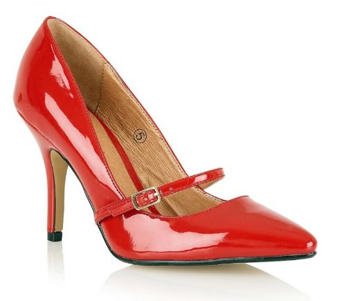Ravel Meryl Red Patent Pointed Toe Court Shoes