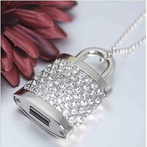 High Quality 32 GB lock Shape Crystal Jewelry USB Flash Memory Drive Necklace(Silver) by T &  J