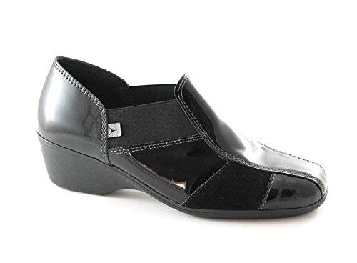 CINZIA SOFT 651 nero scarpe donna comfort tipo pantofola zeppetta 36
