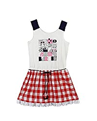 Barbie Girls' Dress (DRSFA161166004_Pearl Off White and Strawberry Red_3 - 4 Years)