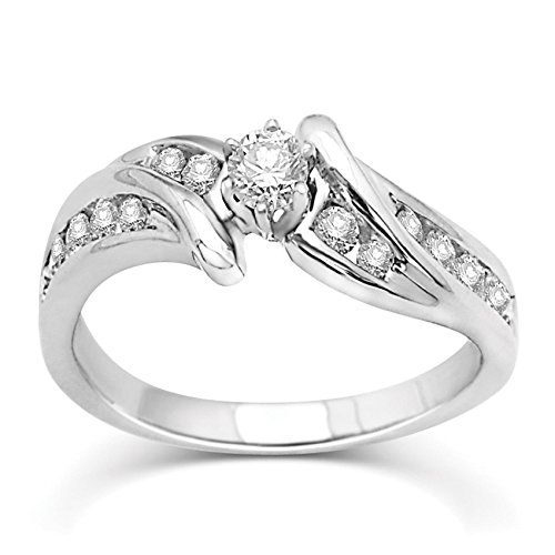 0.58 Carat Wedding ring for sale with Round cut Diamond on 14K White gold