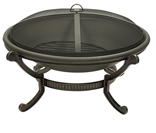 Large-Round-Cast-Iron-Bronze-Fire-Pit-with-Spark-Guard-Screen