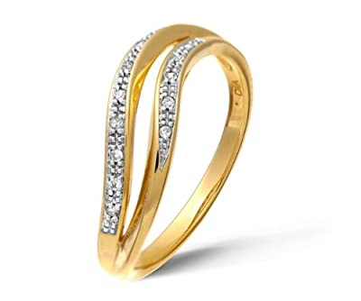 Ariel 9ct Yellow Gold Diamond Pave Set Double Wave Half Eternity Ring