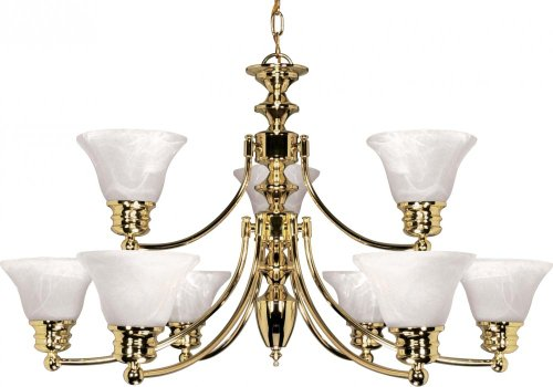 Nuvo 60/361 2 Tier 9 Light Chandelier with Alabaster Glass
