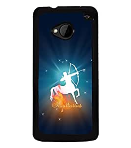 Fuson Premium 2D Back Case Cover Sagittarius With Black Background Degined For HTC One M7::HTC M7