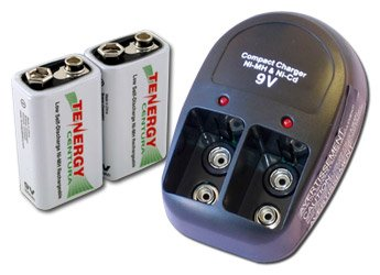 Tenergy T-228 Plug-in Compact Charger,2 pcs 9V 200mAh Centura -LSD NiMH Rechargeable Batteries
