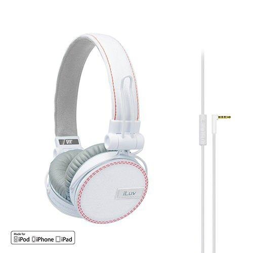 Iluv Ref, Deep Bass On-Ear Headphones With Canvas Fabric Exterior For Apple Ipad / Iphone / Ipod - White