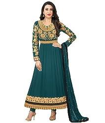 FastColors Women's Georgette Long Anarkali Unstitched Salwar Suit Dress Material(30015_FC_Green)