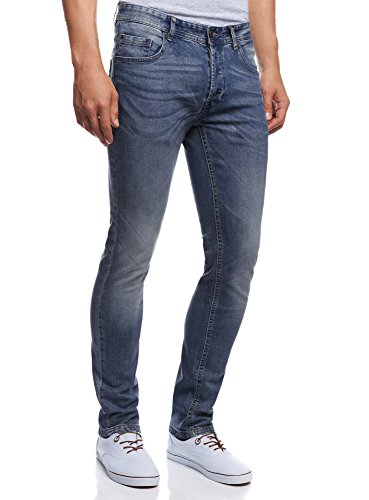 oodji Ultra Uomo Jeans Basic Slim, Blu, 32W/34L (IT 46 / EU 32 / M)