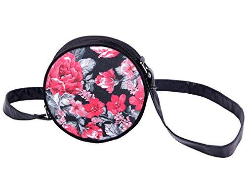Borsa rotonda a tracolla con motivi divertenti. Borsetta con chiusura zip. Moderno lyfestyle trend zaino donne design, Tasche HT-01-36:HT-016 rosa