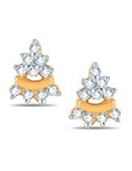 Jashn The Pyramid Stud Earring In Sterling Silver With Swarovski Diamond # JNESC033