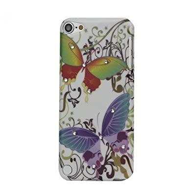 JUJEO Colorful Butterfly Diamante Smooth Hard Plastic Case for iPod touch 5 deal 2015