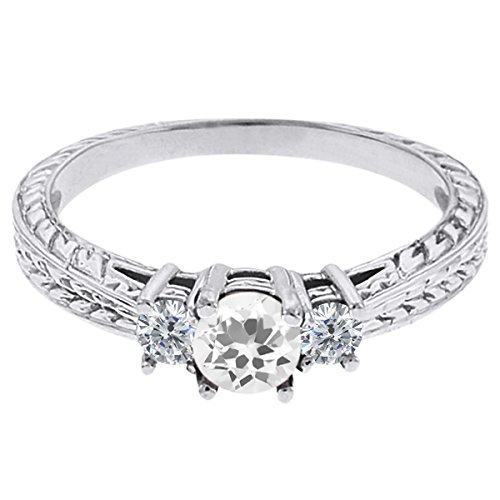 0.57 Ct Round White Topaz G/H Diamond 18K White Gold 3-Stone Ring