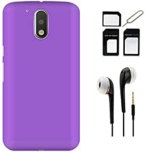 Tidel Ultra Thin and Stylish Rubberized Back Cover for Moto G Play 4th Gen (Motorola Moto G4 Play)(PURPLE) With Earphone & Micro/Nano SIM Adapter