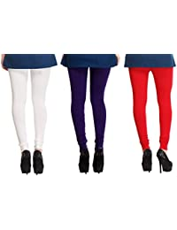 Leggings Free Size Cotton Lycra Churidar Leggings Pack Of 3 OffWhite , Purple & Red By SMEXY