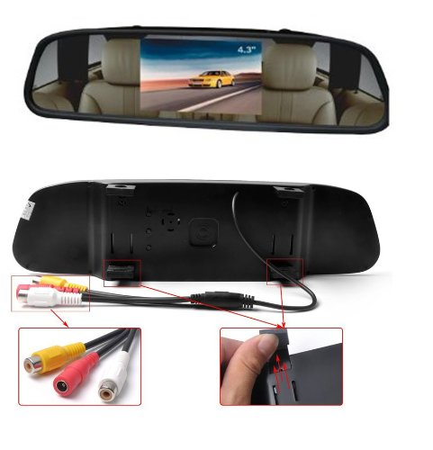 """Lemonbest New 4.3"""" Digital Tft Lcd Car Auto Lcd Screen Monitor View Rear View Mirror Monitor For Vehicles front-1049117"""
