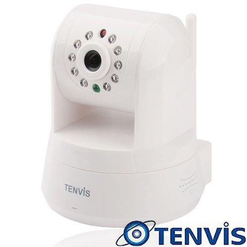 TENVIS Iprobot3 PTZ-Netzwerkkamera/IP-Überwachungskamera, H.264, 1/4 CMOS, drahtlos, für Innenbereich, mit 32°GB SD-Karte, unterstützt Mobilfunk-Ansicht - weiß