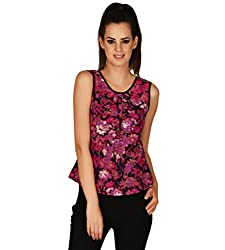 EEIA Women's Slim Fit Pink Crepe Top (E073s-Large, Pink, Large)