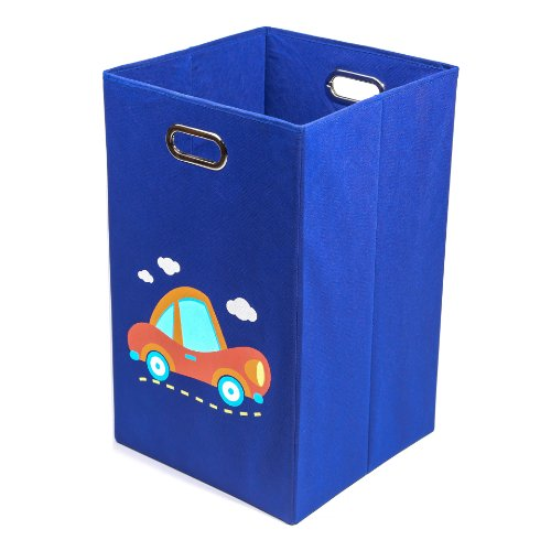 Nuby Folding Laundry Bin, Dark Blue Car - 1