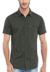 Spykar Men Cotton Olive Casual Shirt (XX-Large)