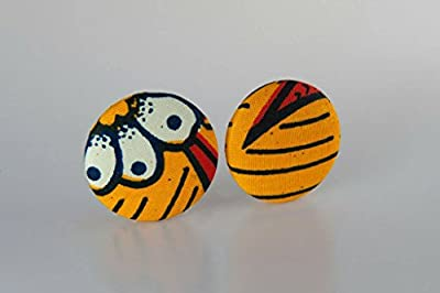"Fabric button earrings (1 7/8""), African fabric button earrings, Ankara fabric button earrings, Fabric Earrings, Button earrings (Kula)"