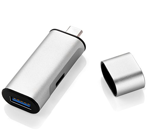 Mopo USB3.0(メ ス)→USB Type-Cコネクタ  USB Type-C端子両面挿 超高速データ転送 充電機能が付き アダプター  Apple Macbook Google new Chromebook Pixel Surface Pro 4 及び他のUSB 3.1 Type C デバイスに対応 (銀)