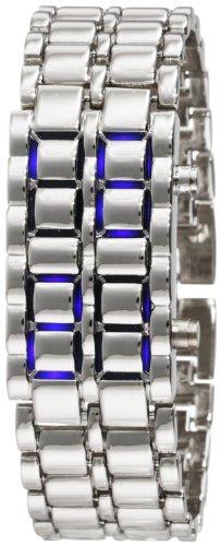 Generic  Watches sale: Silver Metal Band Mens Iron Samurai Style Lava Digital Sport Watch Faceless Blue LED-SLBL