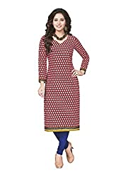 PShopee Maroon Cotton Fine Printed Unstitched Kurti/Top Material