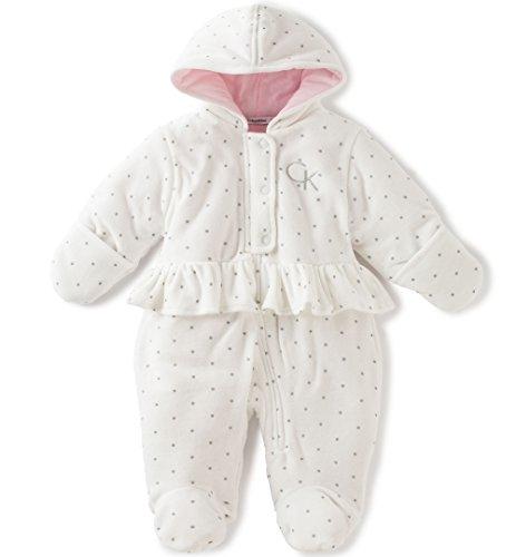 Calvin Klein Baby Girls' Hooded Velour Pram, Vanilla, 0-3 Months