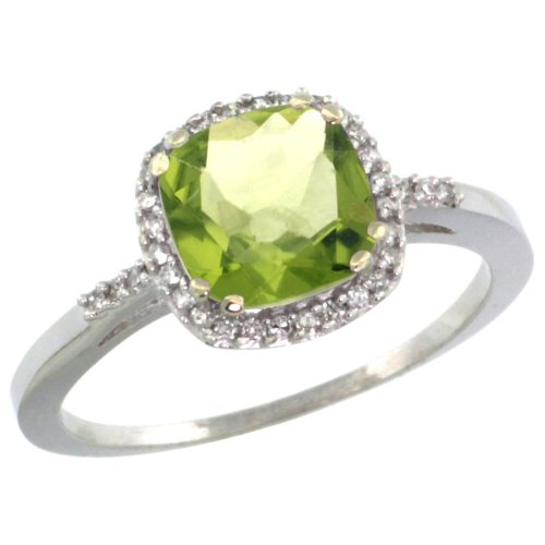 10k White Gold ( 7 mm ) Square Engagement Peridot Ring w/ 0.119 Carat Brilliant Cut Diamonds & 1.80 Carats Cushion Cut Stone, 3/8 in. (10mm) wide, size 6