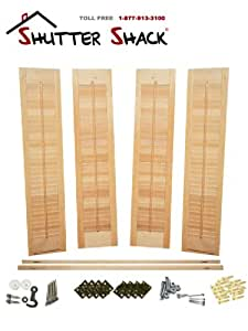 Interior shutter kit 1 1 4 louvers - Unfinished interior wood shutters ...