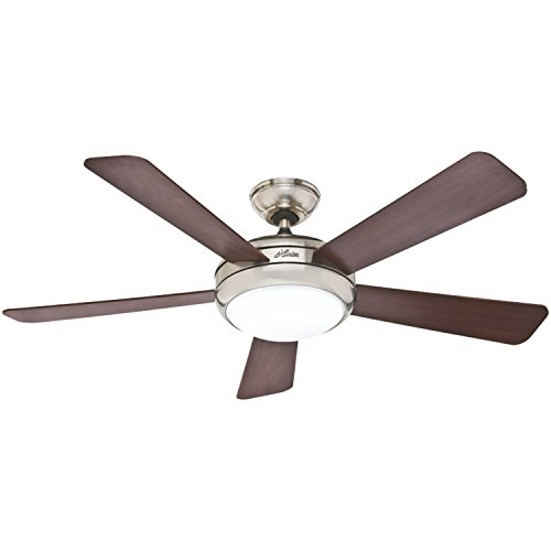 Hunter 59049 Palermo 52-Inch Brushed Nickel Ceiling Fan With Five Cherry/Maple Blades