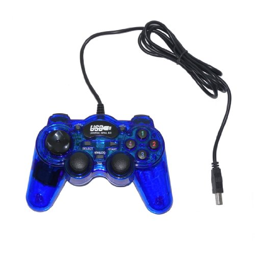 USB Double Dual Shock Joypad Game & Computer Controller - Blue