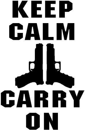 BLACK Vinyl Decal Keep Calm carry on gun owner victim hunt country truck sticker, die cut vinyl decal for windows, cars, trucks, tool boxes, laptops, MacBook - virtually any hard, smooth surface (Gun Owner Decals compare prices)