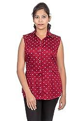 Juee Women's Sleeveless Top (JU101SY1SLMRN) (Small)