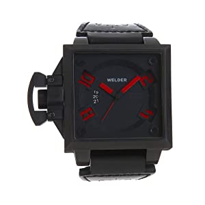 Welder Men's K25B-4501 K25B Analog Black Ion-Plated Stainless Steel Square Watch