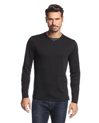 Robert Barakett Men's Georgia Long Sleeve Double V-Neck Shirt