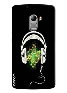 Omnam Printed Headphones with Black Background Backcover for Lenovo K4 Note