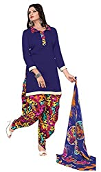 Trendz Apparels BLue Cotton Patiala Salwar Suit