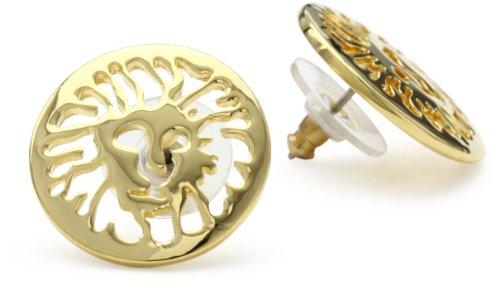 Anne Klein Gold-Tone Plated Logo Pierced Button Earrings