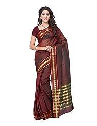 Fabdeal Brown Cotton Printed Saree Sari Sarees