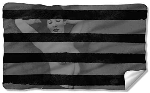 Bettie Page - Black Stripes Fleece Blanket 57 x 35in