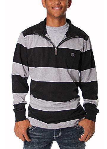 Long Sleeve 1/4 Zip Stripe Knit in Black By Chaps (L)